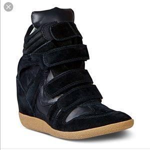 Women's Black Hilight Wedge Sneakers